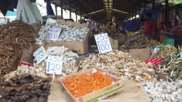 vídeos de stock e filmes b-roll de dry fish market stall at colombo, sri lanka - vendedor trabalho no comércio