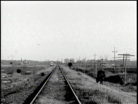 dry landscape with barns / a cow eating grass near train tracks / mules being hurded - 1930 stock videos & royalty-free footage