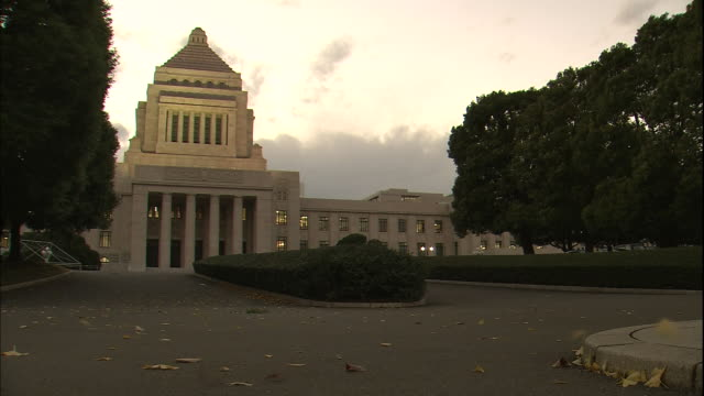 dry  leaves skitter past the national diet building in tokyo. - 国会議事堂点の映像素材/bロール