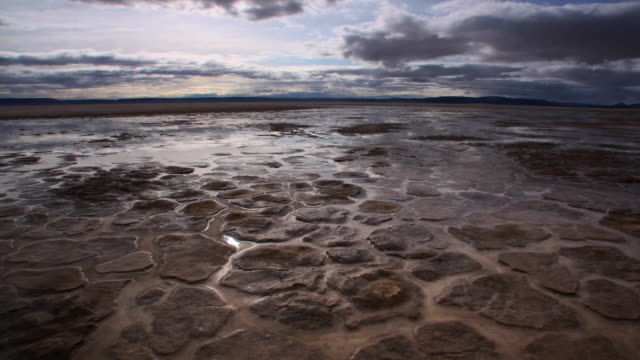 WS T/L POV PAN  Drying earth with evaporating pools of water  / Alvard Desert, Oregon, USA