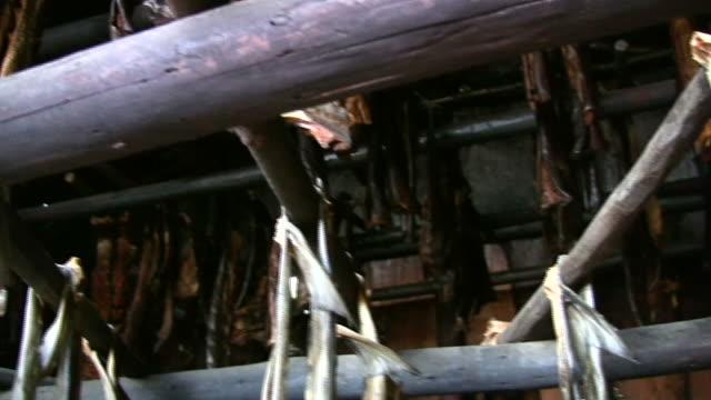 drying fish - salmon in alaska - drying stock videos & royalty-free footage