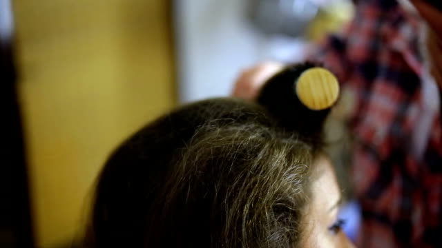 drying long brown hair with hair dryer and round brush - drying stock videos and b-roll footage