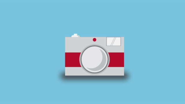 Dslr camera icon animation appearing then animating off.