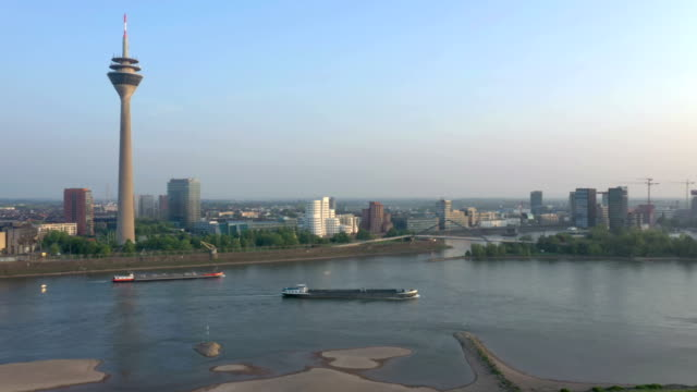 düsseldorf at sunset - rhein stock-videos und b-roll-filmmaterial