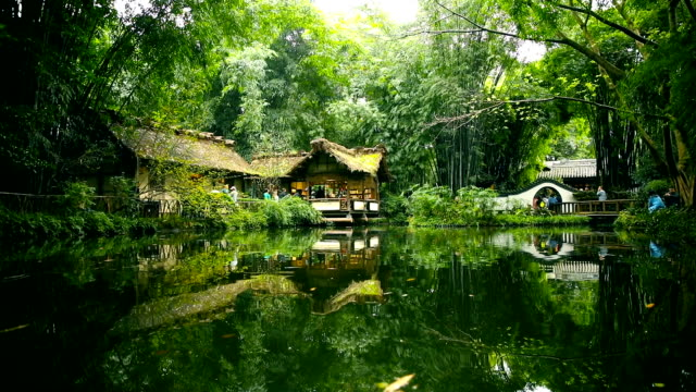du fu thatched cottage in chengdu,china - pavilion stock videos & royalty-free footage