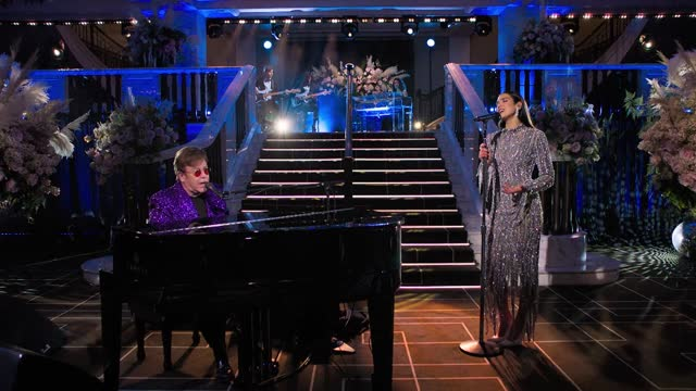 dua lipa and elton john performing love again at the 29th annual elton john aids foundation academy awards viewing party - academy awards stock videos & royalty-free footage