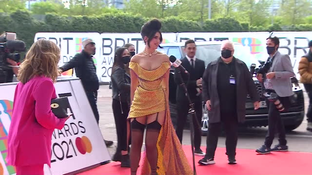 dua lipa red carpet arrival at the brit awards 2021 - presentation stock videos & royalty-free footage