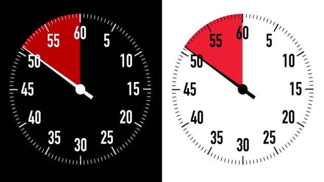 vídeos de stock, filmes e b-roll de gráficos duplos de cronômetro de contagem regressiva de 10 segundos no fundo preto e branco - 10 seconds or greater