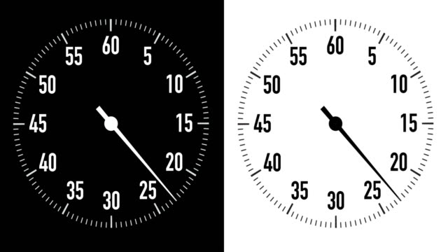 dual 30-second countdown stopwatch graphics on black & white background - 30 seconds or greater video stock e b–roll
