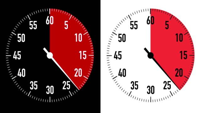 vídeos y material grabado en eventos de stock de gráficos duales de cronómetro de cuenta regresiva de 30 segundos sobre fondo en blanco y negro - 30 seconds or greater