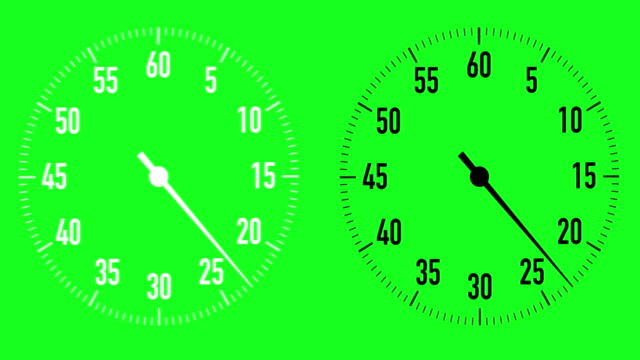 dual 30-second countdown stopwatch graphics on chroma key background - 30 seconds or greater video stock e b–roll