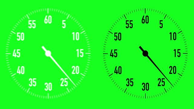 dual 30-sekunden countdown stoppuhr grafiken auf chroma-key-hintergrund - 30 seconds or greater stock-videos und b-roll-filmmaterial