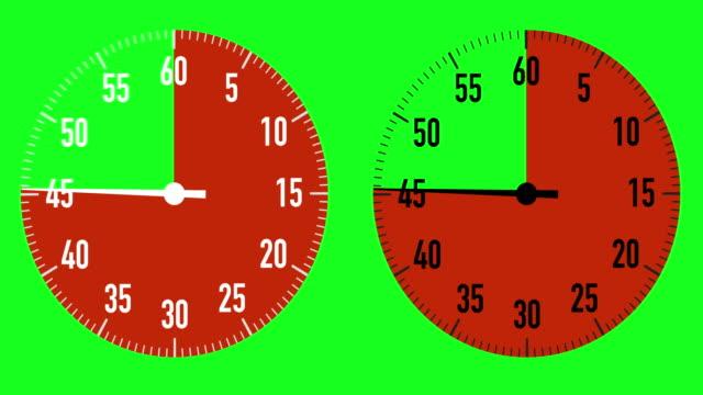 vidéos et rushes de double 60-second compte à rebours chronomètre graphiques sur chroma fond clé - aiguille des secondes
