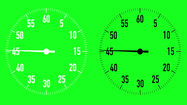 dual 60-second countdown stopwatch graphics on chroma key background - stop watch stock videos & royalty-free footage