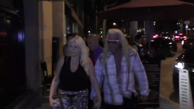 duane chapman & beth chapman talk about the hurricane about to hit florida outside craig's restaurant in west hollywood in celebrity sightings in los... - hollywood florida stock videos & royalty-free footage