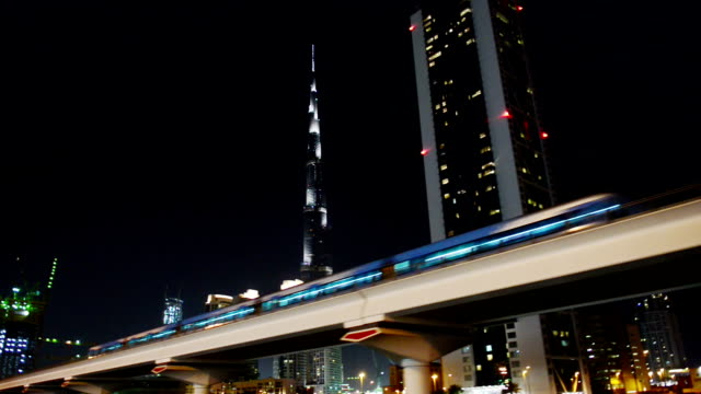 dubai at night - underground rail stock videos & royalty-free footage