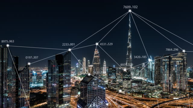 t/l tu dubai city skyline and 5g network concept / uae - digital enhancement stock videos & royalty-free footage