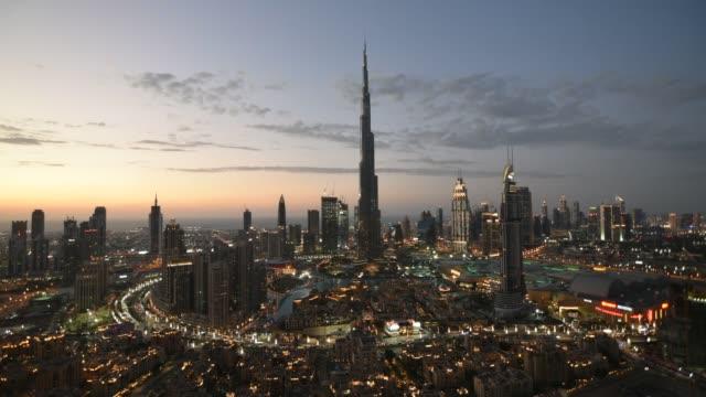 dubai city skyline timelapse - burj khalifa stock videos & royalty-free footage