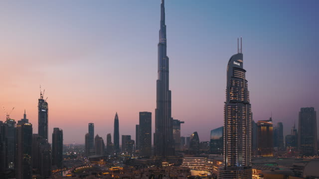 t/l ws ha dubai cityscape at sunset,uae - lockdown viewpoint stock videos & royalty-free footage