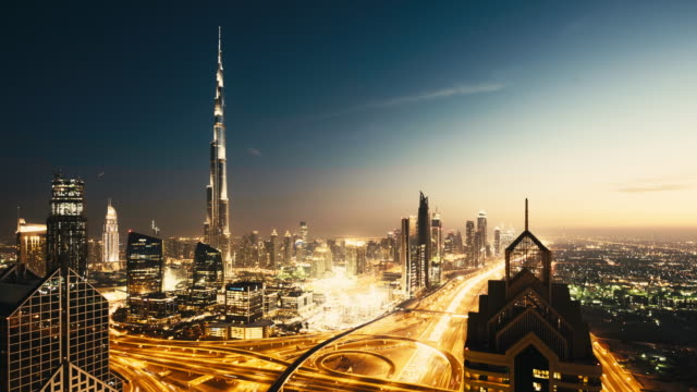 dubai downtown day to night traffic - middle east stock videos & royalty-free footage