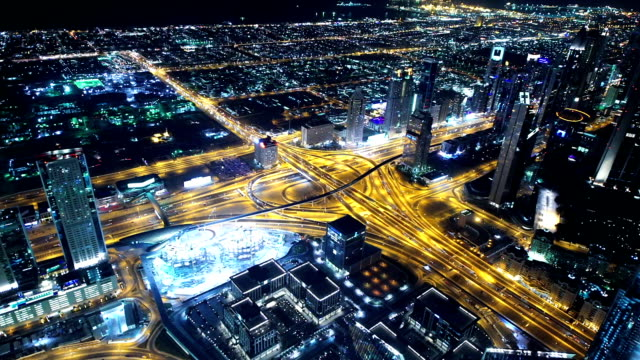 Dubai highway at night