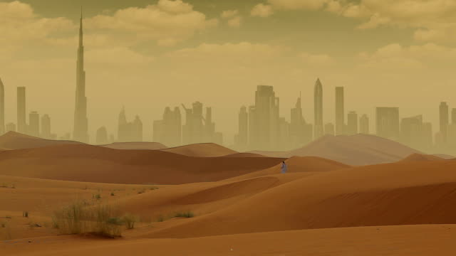 dubai in desert - arid climate stock videos and b-roll footage