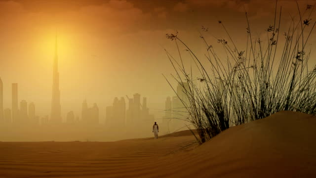 dubai in desert - sand dune stock videos and b-roll footage
