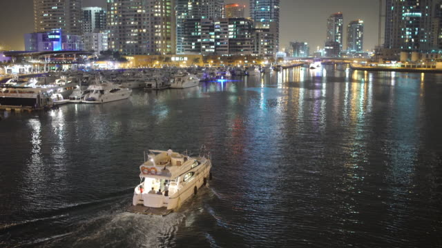 dubai marina at night - marina stock videos & royalty-free footage