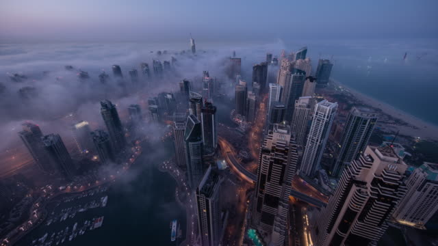 dubai marina fog - fog stock videos & royalty-free footage
