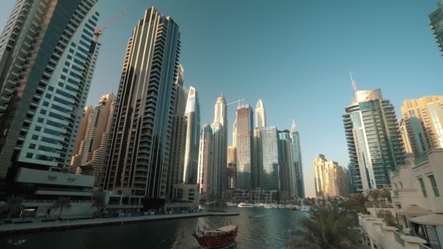 dubai marina glass skyscrapers, united arab emirates - tower stock videos & royalty-free footage