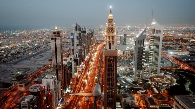 Dubai Sheikh Zayed Road at dusk