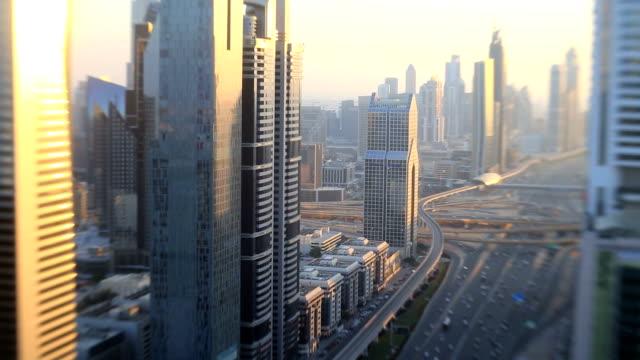 Dubai Sheikh Zayed Road skyscraper sunset city UAE