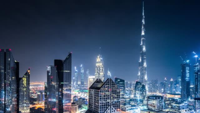 T/L WS HA PAN Dubai Skyline at Night / Dubai, UAE