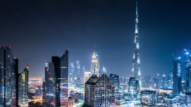 t/l ws ha pan dubai skyline at night / dubai, uae - burj khalifa stock videos & royalty-free footage