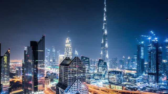 T/L WS HA TD Dubai Skyline at Night / Dubai, UAE