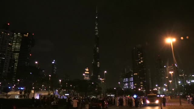 dubai turns off the lights of the burj khalifa the highest skyscraper in the world to mark earth hour in a global call to action on climate change - earth hour stock videos & royalty-free footage