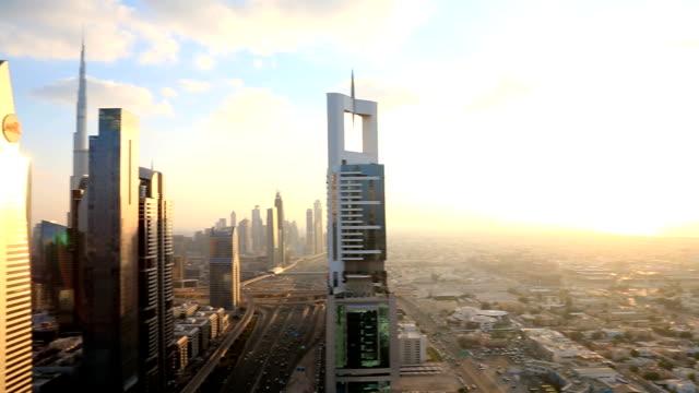 Dubai UAE Sheikh Zayed Road skyscraper Burj Kalifa sunset