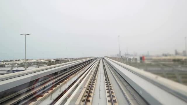 pov ドバイのメトロは高架鉄道のトラック - モノレール点の映像素材/bロール