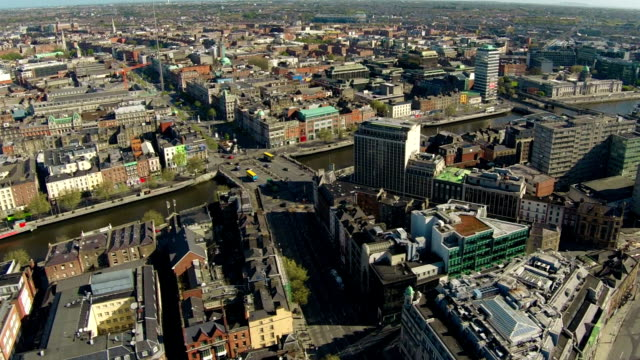 dublin aerial video of city center - spire stock videos & royalty-free footage