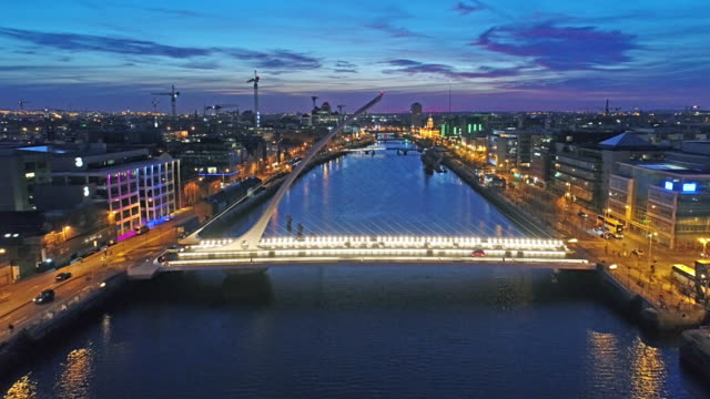 Dublin by night flying backwards over Liffey