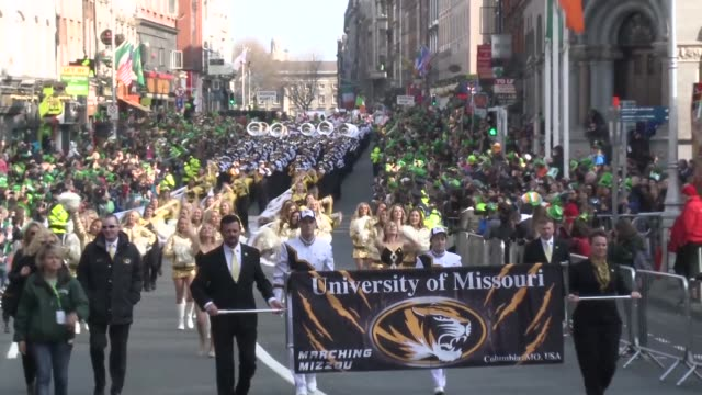 dublin celebrates st patricks day with its traditional parade with many revellers turning out in fancy dress - parade stock videos & royalty-free footage