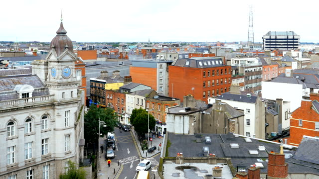 dublin city center and johnson place viewed from above - dublin ireland stock videos and b-roll footage