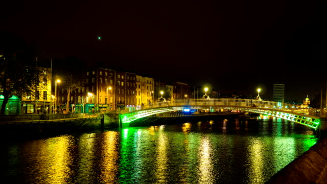 dublin halfpenny bridge (timelapse) - dublin ireland stock videos and b-roll footage