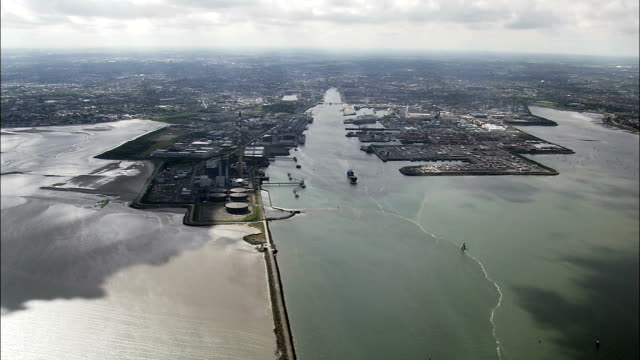 Dublin Harbour  - Aerial View - Leinster,  IE.L.07,  helicopter filming,  aerial video,  cineflex,  establishing shot,  Ireland