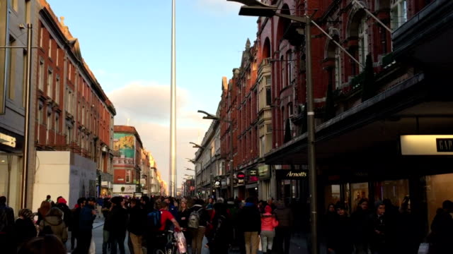 dublin henry street and the spear - spire stock videos & royalty-free footage