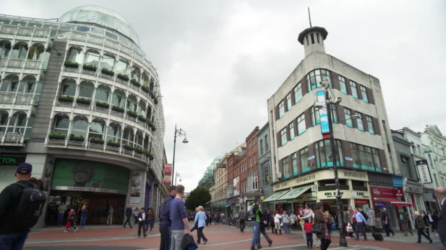 dublin st stephen's green and stephen's green shopping centre - pedestrian zone stock videos & royalty-free footage