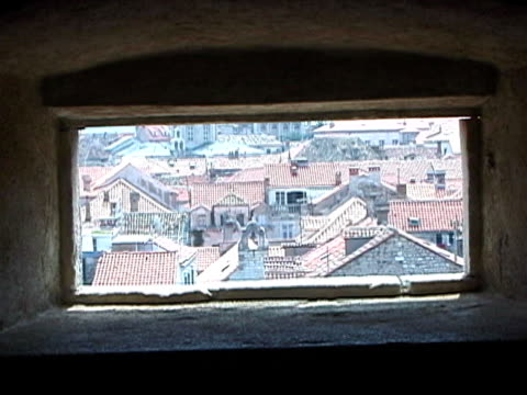 Dubrovnik, Croatia Through Rectangle Hole in City Wall, Pull
