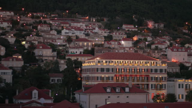 dubrovnik old town at dusk - croatia - old town stock videos & royalty-free footage