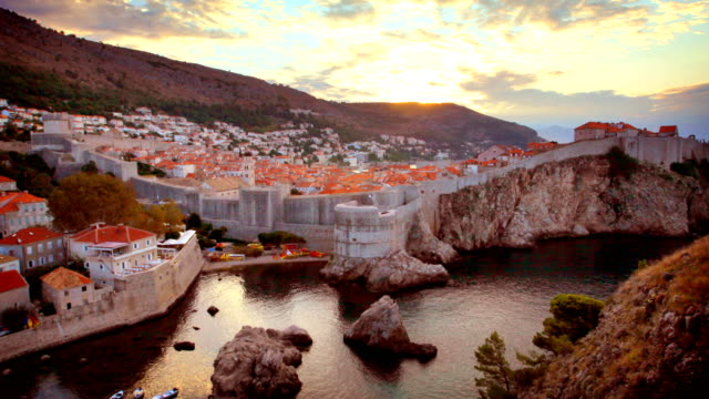 dubrovnik old town sunrise timelapse - surrounding wall stock videos & royalty-free footage