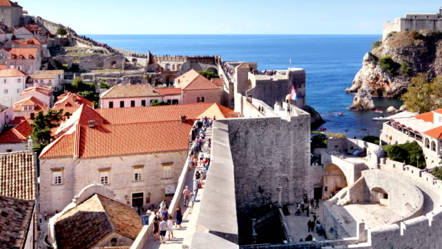 dubrovnik old town walls timelapse - surrounding wall stock videos and b-roll footage